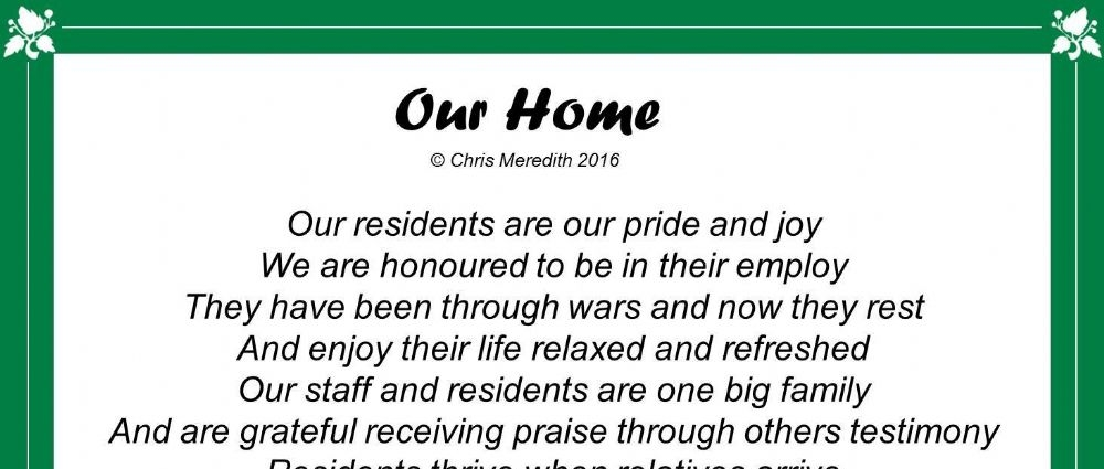 A wonderful poem, written in honour of 'Our Home'