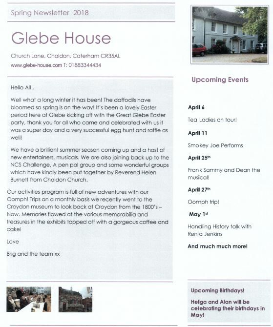 Glebe House Newsletter