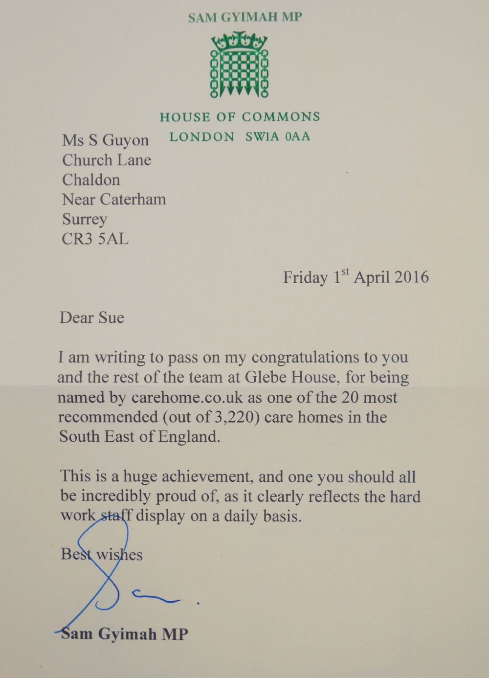 House of Commons Letter Actual